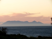 The view across False bay to Cape Town