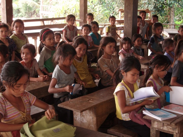 Children learning in Laos